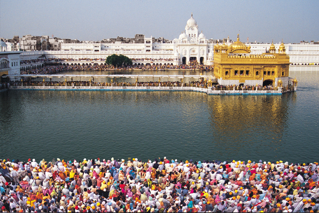 A never ending flow of visitors to the Golden Temple. by Rupinder Khullar, Image Photography, Digital Print on Paper, Brown color