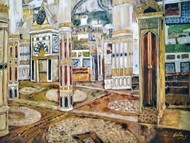 Inside Mecca Madina by Jatin Satsangi, Impressionism Painting, Oil on Canvas Board, Brown color