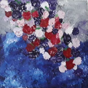 MESMERISING BEAUTY OF ROSES by Dr Ratna Kumari, Expressionism Painting, Acrylic on Canvas, Blue color