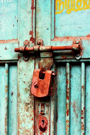 Door No. 57A by Shafi, Image Photography, Digital Print on Paper, Cyan color