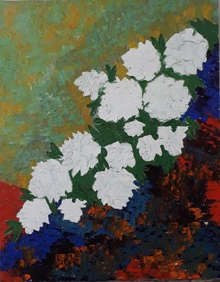 WHITE ROSES by Dr Ratna Kumari, Expressionism Painting, Acrylic on Canvas, Green color