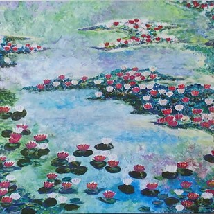 WATERLILLIES IN THE POND by Dr Ratna Kumari, Expressionism Painting, Acrylic on Canvas, Cyan color