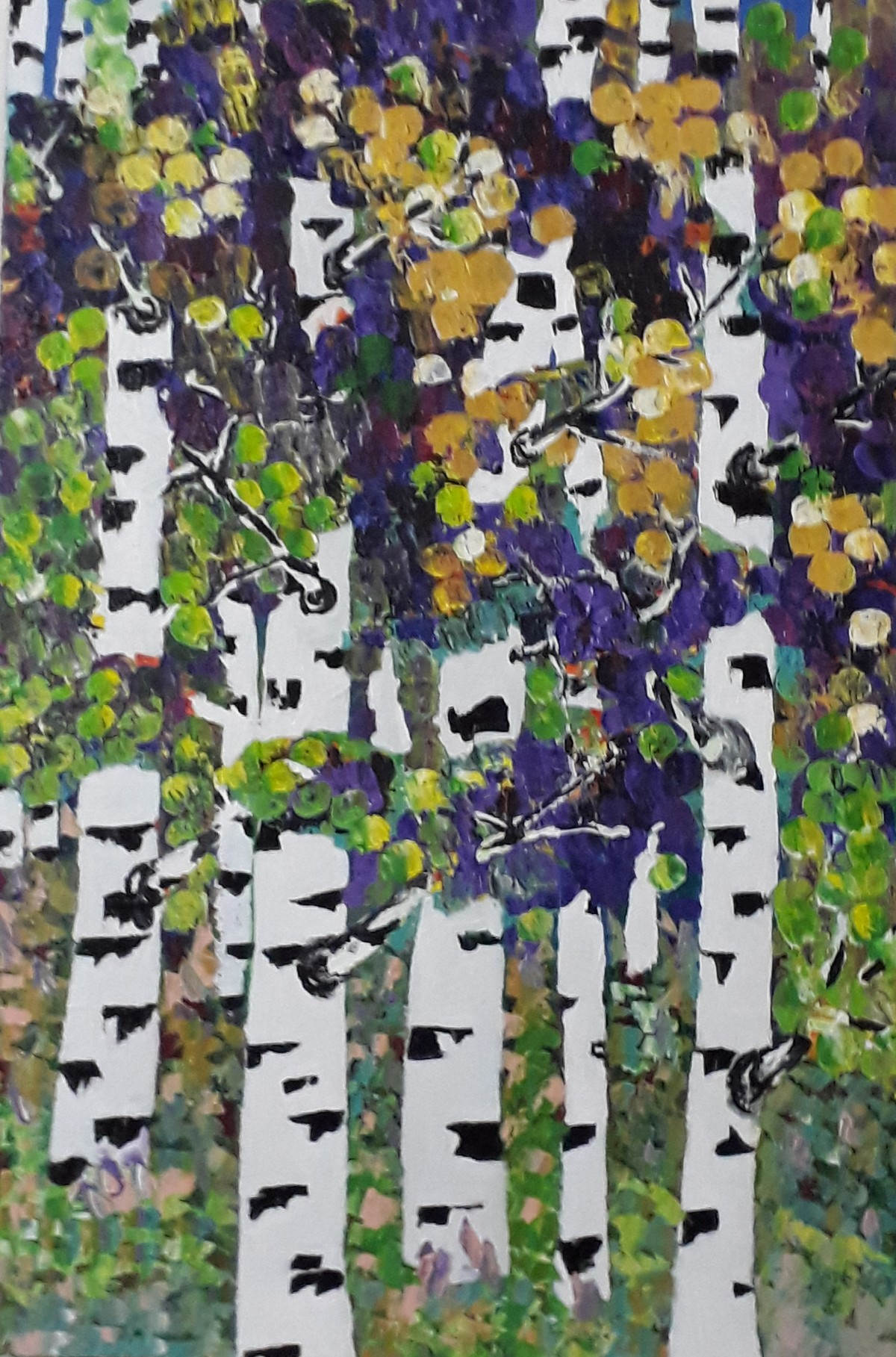 BIRCH FOREST by Dr Ratna Kumari, Expressionism Painting, Acrylic on Canvas, Gray color