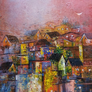 Colourfully Village by M Singh, Abstract Painting, Acrylic on Canvas, Brown color