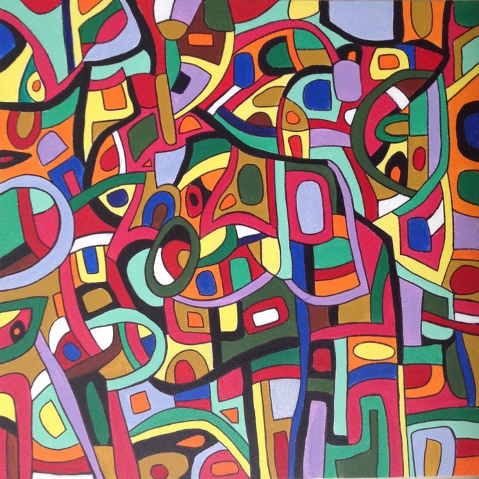Life by Shruti Vij, Geometrical Painting, Acrylic on Canvas, Brown color