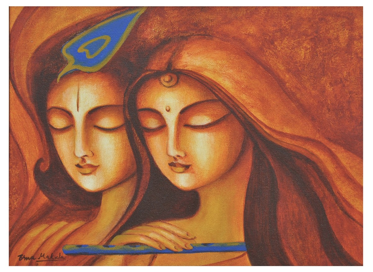 Advaitham 2 by Uma Makala, Traditional Painting, Acrylic on Canvas, Brown color