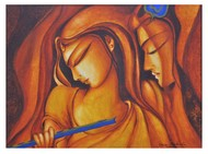 Advaitham 3 by Uma Makala, Decorative Painting, Acrylic on Canvas, Brown color