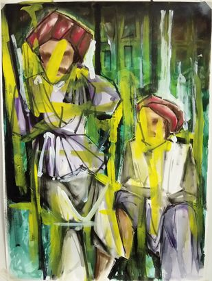 Friends by Simran, Abstract Painting, Mixed Media on Paper, Green color