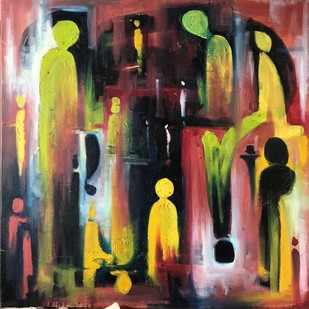 People by Simran, Abstract Painting, Oil on Canvas, Brown color