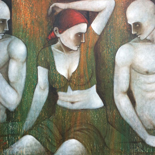 Untittled by Asit Kumar Patnaik, Expressionism Painting, Acrylic on Canvas, Gray color