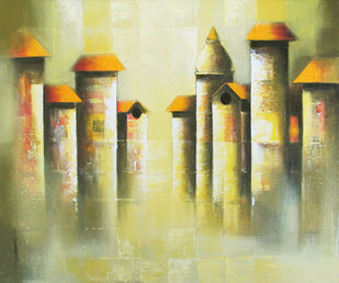 Mindscape by Somnath Bothe, Impressionism Painting, Acrylic on Canvas, Beige color