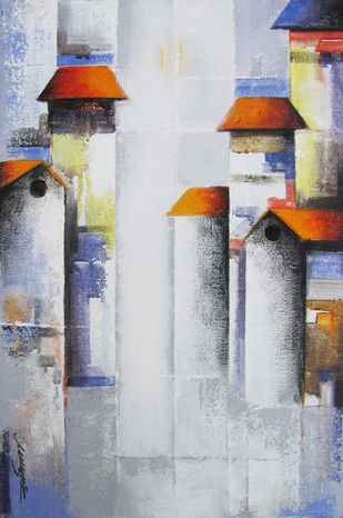 Mindscape by Somnath Bothe, Impressionism Painting, Acrylic on Canvas, Gray color