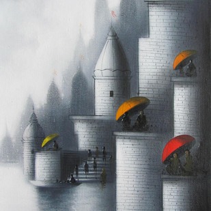 Holy Banaras by Somnath Bothe, Impressionism Painting, Acrylic on Canvas, Gray color