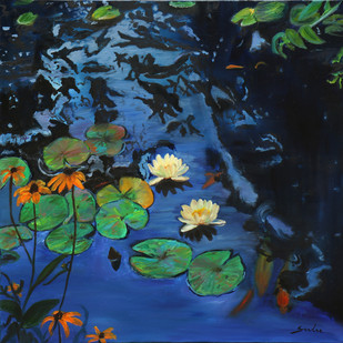 Lily pond- 10 by Sulakshana Dharmadhikari, Expressionism Painting, Oil on Canvas, Blue color