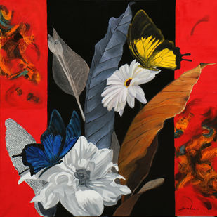 Flower with butterfly 7 by Sulakshana Dharmadhikari, Expressionism Painting, Oil on Canvas, Brown color