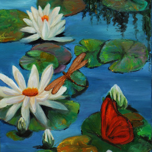Lily pond- 11 by Sulakshana Dharmadhikari, Expressionism Painting, Oil on Canvas, Green color