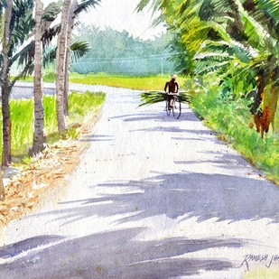 Out for Delivery by Ramesh Jhawar, Impressionism Painting, Watercolor on Paper, Beige color