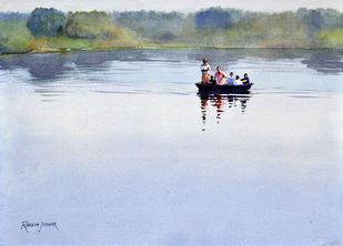 A coracle ride on the Kaveri by Ramesh Jhawar, Impressionism Painting, Watercolor on Paper, Cyan color