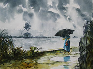 Monsoon Days 1 by Mopasang Valath, Impressionism Painting, Watercolor on Paper, Gray color