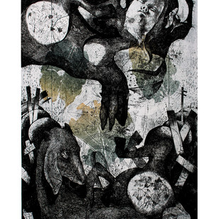 exitaince of nature II by Tribhuvan Kumar, Expressionism Printmaking, Etching on Paper, Gray color