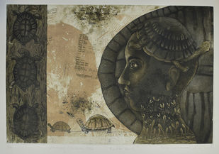 turtle back by Tribhuvan Kumar, Expressionism Printmaking, Etching on Paper, Gray color