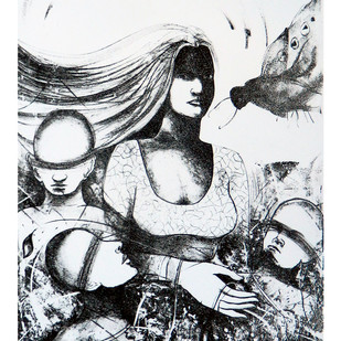 untitled IIII by Tribhuvan Kumar, Expressionism Printmaking, Lithography on Paper, Gray color