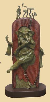 Rhythm by Subrata Paul, Art Deco Sculpture   3D, Wood & Brass, Beige color