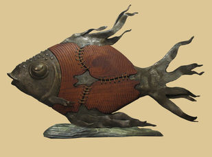 FISH by Subrata Paul, Art Deco Sculpture | 3D, Wood & Brass, Beige color