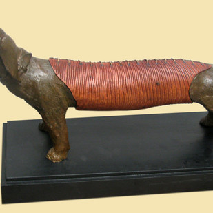 LOYAL MATE by Subrata Paul, Art Deco Sculpture | 3D, Wood & Brass, Yellow color