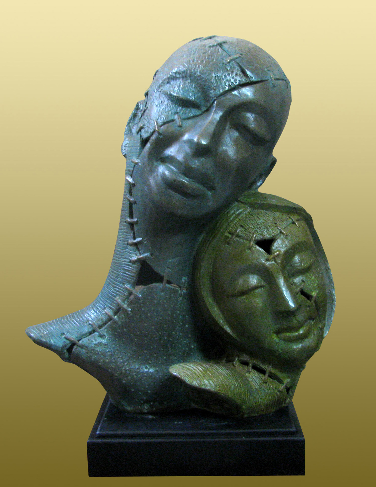 PAIR by Subrata Paul, Art Deco Sculpture | 3D, Bronze, Green color