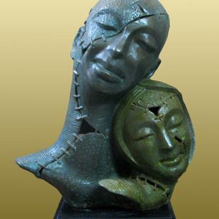 PAIR by Subrata Paul, Art Deco Sculpture | 3D, Bronze, Green color
