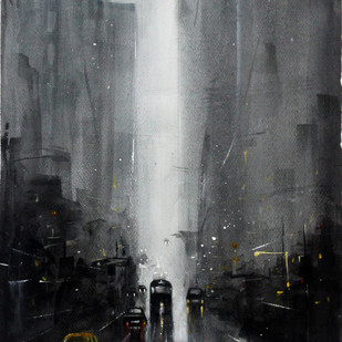 Monsoon VII by Arijit Basu , Impressionism Painting, Watercolor on Paper, Gray color