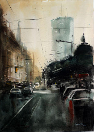 Monsoon XIII by Arijit Basu , Impressionism Painting, Watercolor on Paper, Beige color