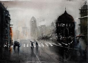 Kolkata monsoon XI by Arijit Basu , Impressionism Painting, Watercolor on Paper, Gray color