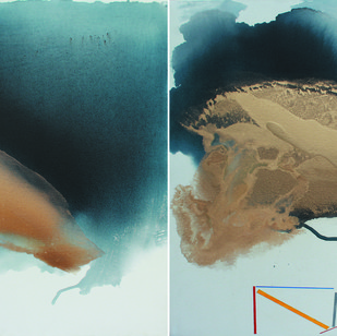 GOLDEN CLOUD SQUARE by Prabhinder Lall, Abstract Painting, Acrylic & Ink on Paper, Gray color