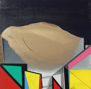 GOLDEN CLOUD SQUARE by Prabhinder Lall, Geometrical Painting, Acrylic & Ink on Paper, Beige color