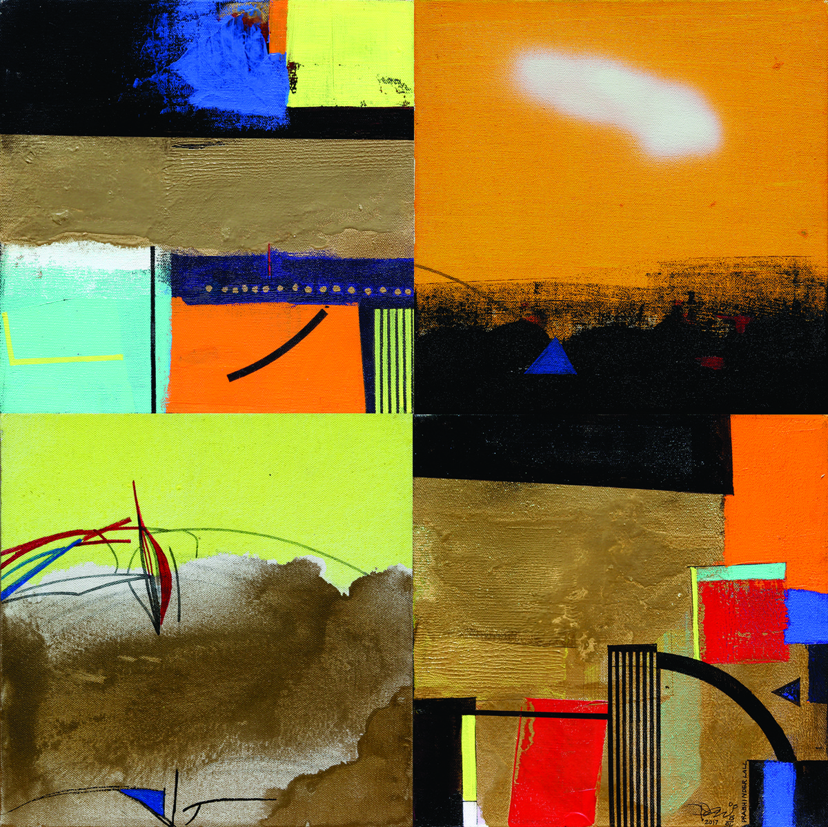 URBAN SPECTRUM by Prabhinder Lall, Expressionism Painting, Acrylic & Ink on Canvas, Brown color