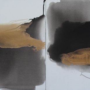 GOLDEN CLOUD SQUARE by Prabhinder Lall, Abstract Painting, Acrylic & Ink on Canvas, Gray color