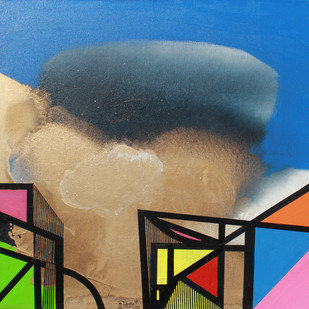 GOLDEN CLOUD SQUARE by Prabhinder Lall, Geometrical Painting, Acrylic & Ink on Canvas, Blue color