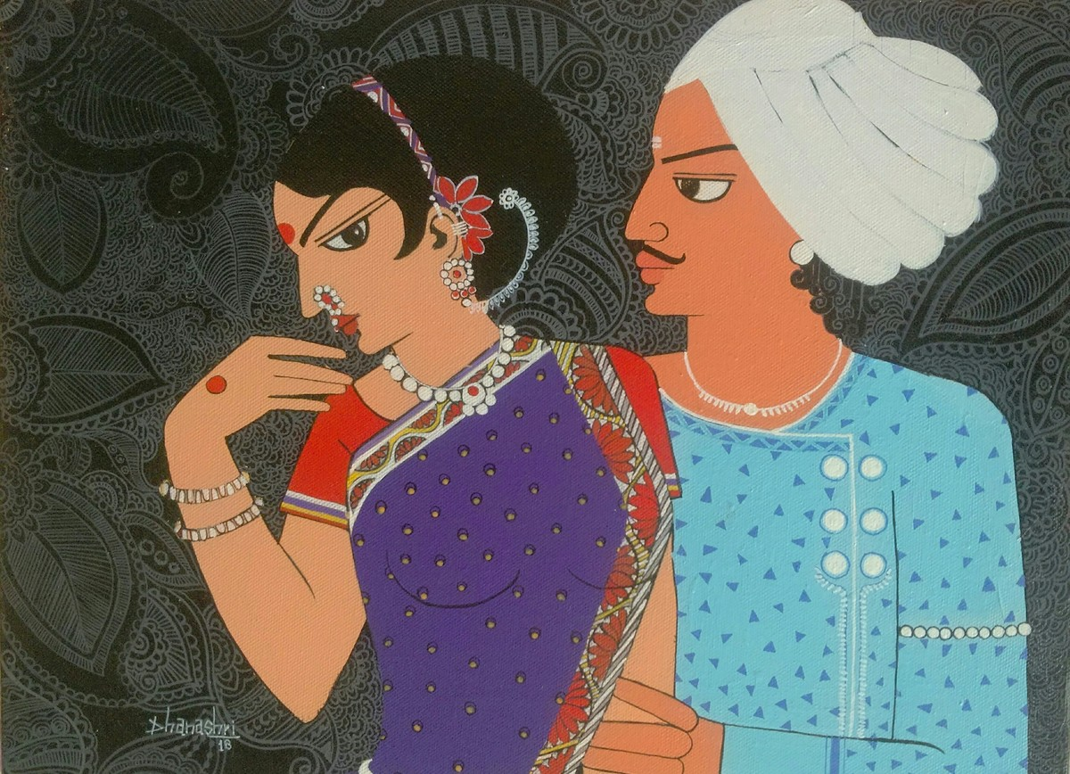 Affection by Dhanashri pendse-panajkar, Traditional Painting, Acrylic on Canvas, Brown color