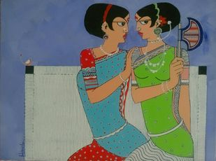 Gossiping by Dhanashri pendse-panajkar, Decorative Painting, Acrylic on Canvas, Blue color