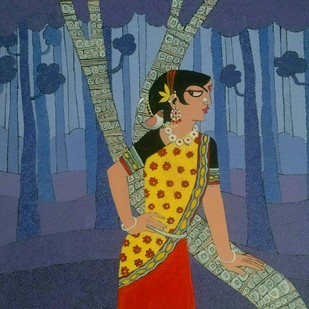 A lady with bird by Dhanashri pendse-panajkar, Decorative Painting, Acrylic on Canvas, Blue color