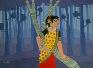 A lady with bird by Dhanashri pendse-panajkar, Decorative Painting, Acrylic on Canvas, Blue color