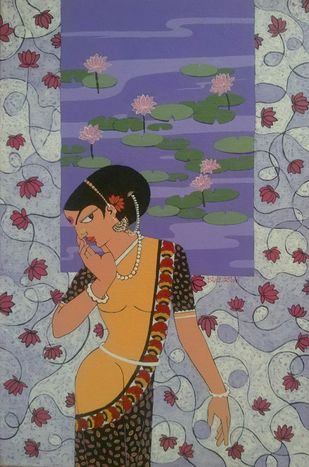 Pink lotus by Dhanashri pendse-panajkar, Decorative Painting, Acrylic on Canvas, Brown color