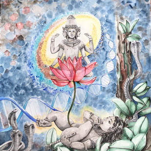Vatapatrashayi by Anuradha Kabra, Expressionism Painting, Pen, pencil, watercolour, chalk pastels on paper , Cyan color
