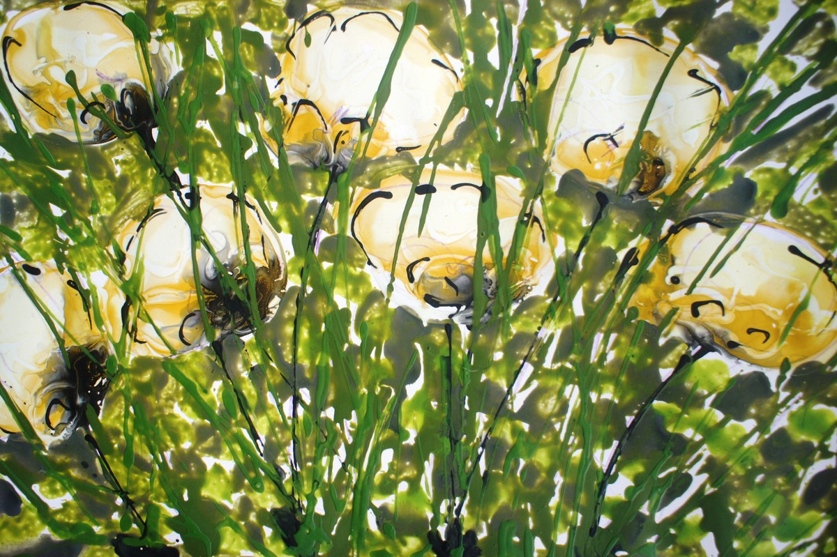 BALJIT DIVINE BLOOMS by Baljit Singh Chadha, Abstract Painting, Mixed Media on Paper, Green color