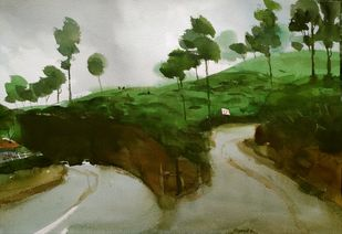 Uphill and downhill, two ways for landscape by Prashant Prabhu, Impressionism Painting, Watercolor on Paper, Green color
