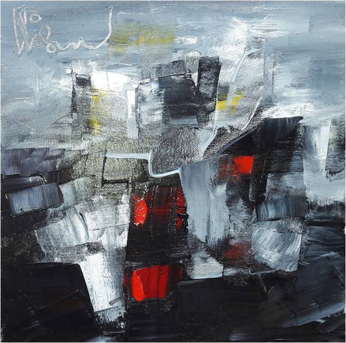 untitled by Viswam, Impressionism Painting, Acrylic on Canvas, Gray color