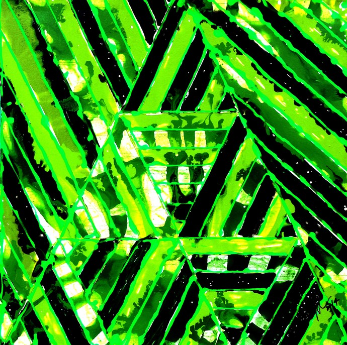 ALIEN CODES by Baljit Singh Chadha, Abstract Painting, Mixed Media on Canvas, Green color