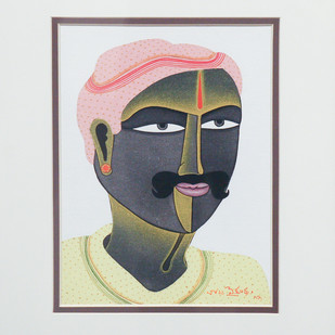 Untitled by Thota Vaikuntam, Expressionism Painting, Acrylic on Board, Gray color